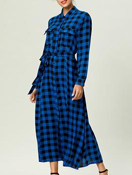 Chic Plaid Button Up Long Sleeve Shirt Dress With Belt