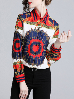 Easy Matching Printing Contrasting Colors Wholesale Blouse