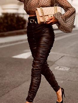 Easy Matching Pleated High Waisted Black PU Pants