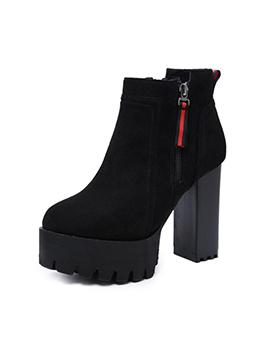 Simple Design Zipper Chunky Platform Black Boots