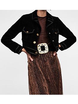 Fashion Rivets Patchwork Black Short Jacket