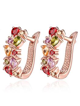 Hot Sale Fashion Zircon Rose Gold Women Earrings