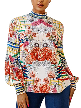 New Arrival Lantern Sleeve Loose Floral Blouse
