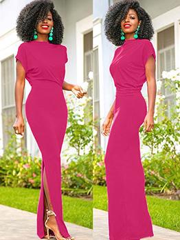 Hot Sale Split Fitted Short Sleeve Ladies Dress