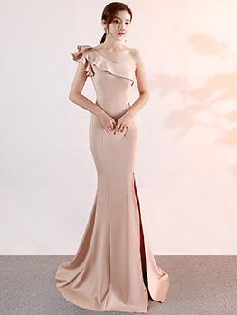 Ruffle Inclined Shoulder Split Fitted Elegant Evening Dresses