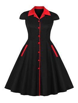 Chic Color Block Pockets Black Short Sleeve Dress Shirt