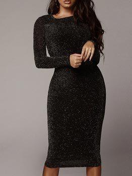 Solid Blink Fitted Ladies Black Long Sleeve Dress