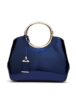 Metal Ring Handle Large Capacity Patent Leather Bag