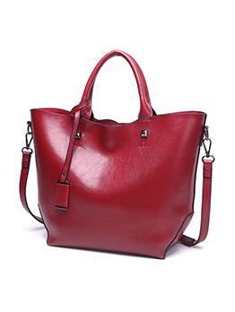Vintage Style Large Capacity Leather Handbag For Women