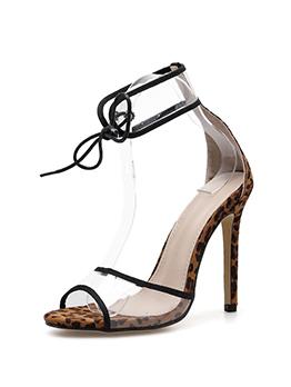 Simple Design Pvc Patchwork High Heel Sandals