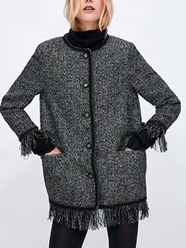 Winter Thicken Pockets Tassels Woman Coat
