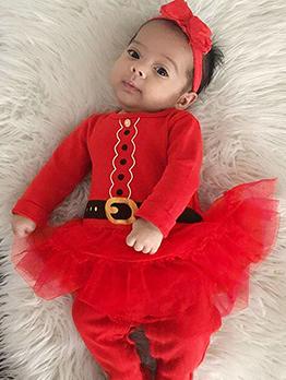 Fashion Patchwork Gauze Christmas Baby Girl Sleepsuit