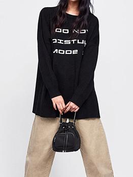 Crew Neck Letter Loose Long Black Sweatshirt
