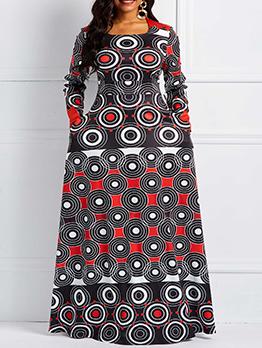 Round Neck Women's Contrast Color Maxi Dress