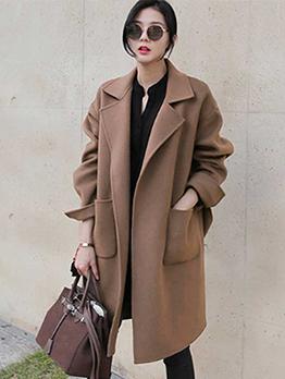 Lapel Plain Pocket Wool Blends Long Overcoat
