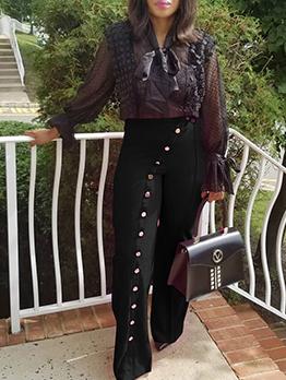 Button Longline Wide Leg Long Pant For Women