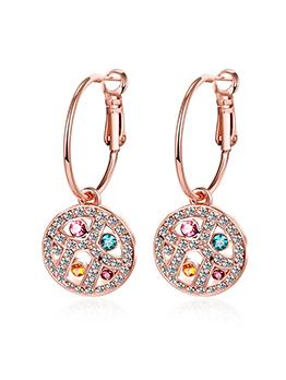 Hot Sale Round Czech Drill Earrings For Women