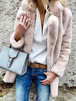 Winter Plush Turndown Neck Solid Warm Coat