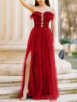 Charming Split Strapless Wholesale Evening Dresses