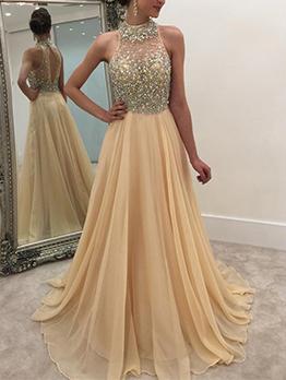 Temperament Sequined Halter Chiffon Evening Dress