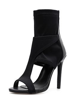 Roma Style Open Toe Black Heel Pumps Shoes