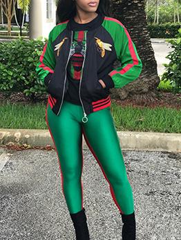 Fashion Contrast Color Animal Printed Baseball Jacket