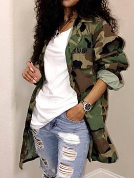 Turndown Neck Camouflage Pockets Long Coat