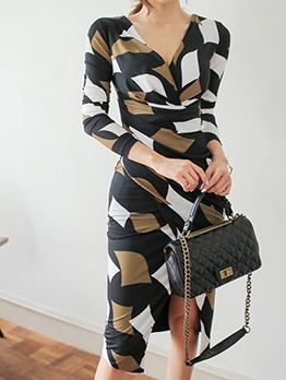 Printed V Neck Irregular Fitted Dresses