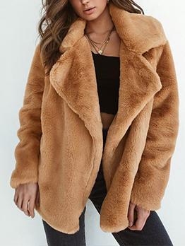 Hot Sale Turndown Neck Solid Faux Fur Coat