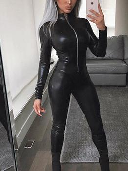 Euro Stand Neck Zipper Up Black Jumpsuits