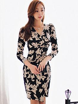 V Neck Leaves Printed Draping Long Sleeve Dress