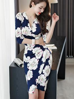 Hot Sale V Neck Fitted Floral Wrap Dress