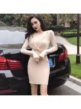 Off Shoulder Solid Twist Bodycon Dress