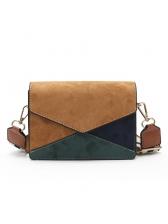 Minimalist Contrast Color Square Suede Shoulder Bags