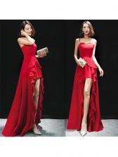 Charming Ruffles Asymmetrical Strap Red Evening Dresses