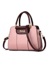 Contrast Color Litchi Stria Pattern Handbag For Women