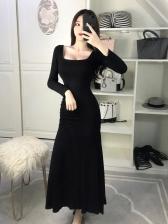 Square Neck Fitted Ladies Maxi Dresses
