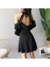 Low-cut Off Shoulder Halter Sexy Dress
