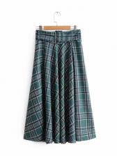 Casual Plaid Ruffles High Waist Midi Skirt