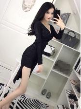 Alluring V Neck Glitter Black Asymmetrical Dress
