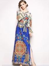 Elegant Flowers Binding Bow Split Vintage Dresses