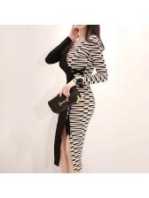 Color Matching Tie-wrap Slit Ladies Dress