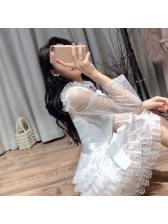Beautiful Gauze Patchwork Lace Binding Bow Tiered Dress