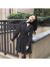 Dots Binding Bow Smart Waist Elegant Dresses