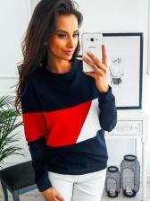 Winter Contrasting Colors Round Neck Matching Sweatshirt