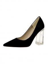 Simple Design Clear Heel Satin Female Pumps