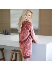 Hot Sale V-Neck Velvet Solid Casual Long Sleeve Dresses