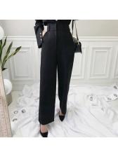 Solid Loose Versatile Black Bootcut Pants For Women
