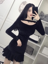 Sexy Fishtail Velvet Holes Fitted Lady Dresses
