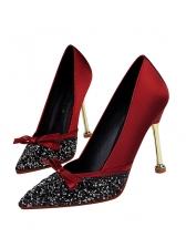 Fashion Bow Rhinestone Bow Pointed High Heel Pumps